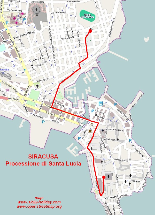 Map of the Santa Lucia procession