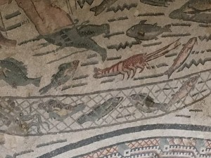 Section of the fishing mosaic.