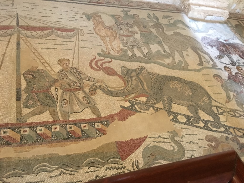 Portion of the hunting mosaic - Elephant being loaded on to a boat